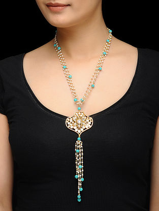 Feroza Gold Tone Kundan Inspired Necklace with Turquoise Beads