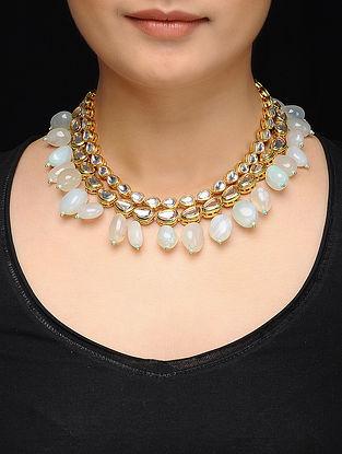 Feroza Gold Tone Kundan Inspired Mint Stones Necklace
