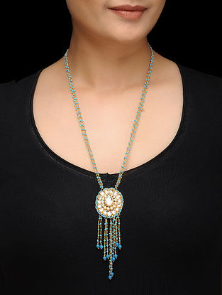 Feroza Gold Tone Turquoise Beaded Necklace