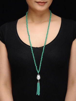 Feroza Turquoise Crystal and Baroque Necklace with Tassel