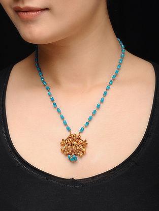 Feroza Gold Tone Turquoise Jade Necklace