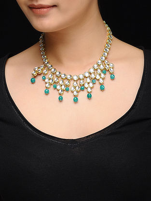 Feroza Gold Tone Kundan Inspired Turquoise Jade Necklace