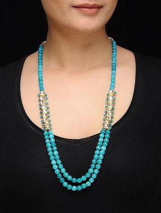 Feroza Blue Kundan Inspired Turquoise Jade Necklace