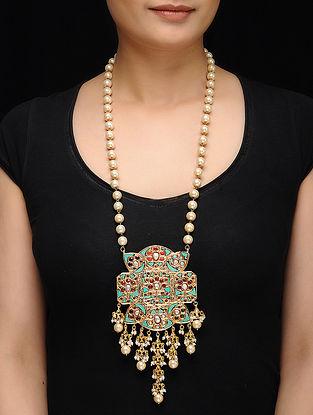 Feroza Gold Tone Turquoise and Jadau Necklace