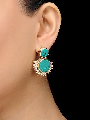 Feroza Gold Tone Turquoise Pearl Earrings