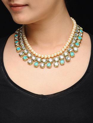 Feroza Gold Tone Kundan Inspired Turquoise Necklace