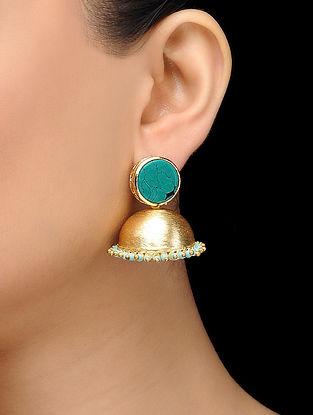 Feroza Gold Tone Turquoise Jhumka