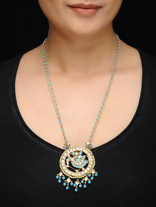 Feroza Gold Tone Kundan Inspired Turquoise Necklace