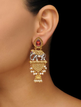 Pink Dual Tone Earrings