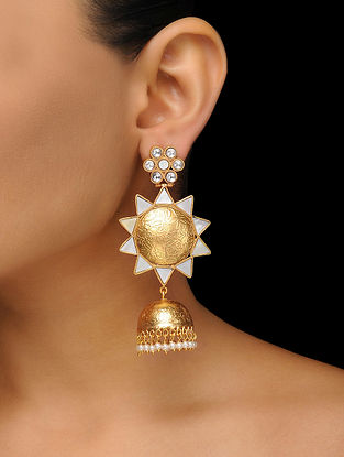 White Gold Plated Mother of Pearl Jhumka