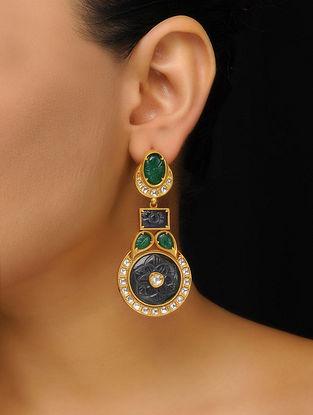 Blue-Green Gold Tone Earrings
