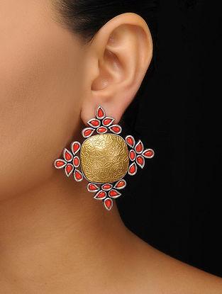Coral Gold Tone Stud Earrings