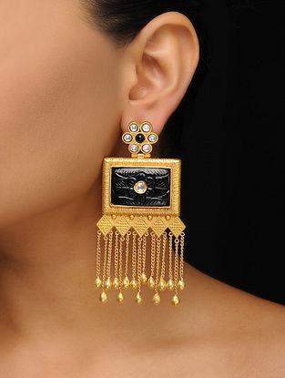Black Gold Tone Kundan Inspired Earrings