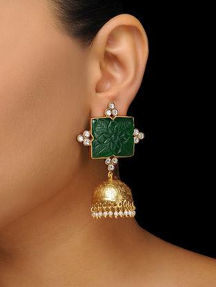 Green Gold Tone Jhumkas