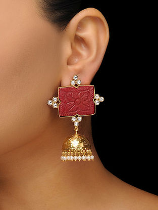 Red Gold Tone Jhumkas