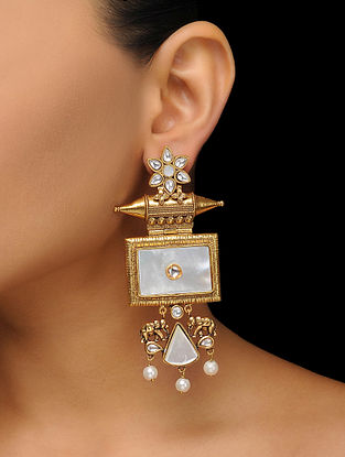 White Gold Tone Mother of Pearl Earrings