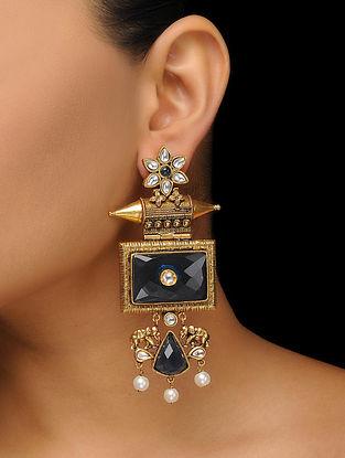 Blue Gold Tone Kundan Inspired Earrings