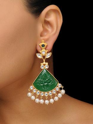 Green Gold Tone Earrings