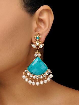 Turquoise Gold Tone Kundan Inspired Earring