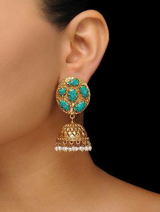 Turquoise Gold Tone Jhumkas