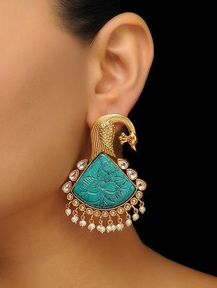 Blue Gold Tone Earrings