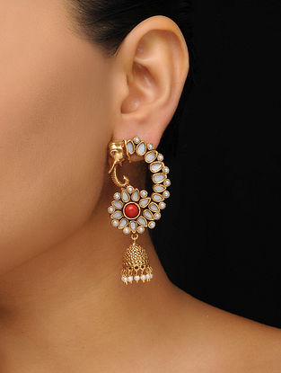 Red Gold Tone Mother of Pearl Jhumkas
