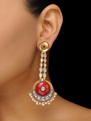 Red Gold Tone Mother of Pearl Earrings