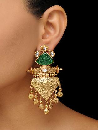 Green Gold Tone Kundan Inspired Earrings