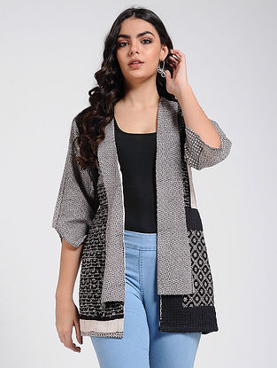 Black-Ivory Bagh Printed Quilted Jacket