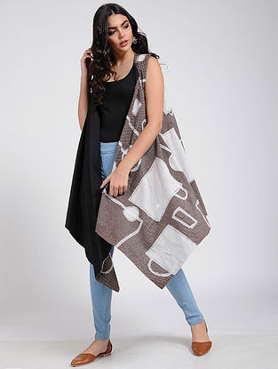 Black-Ivory Bagh Printed Cape with Patch Work
