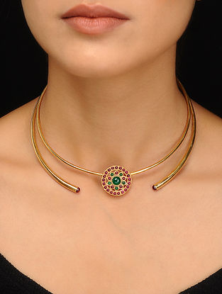 Pink-Green Gold Tone Silver Necklace