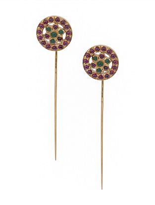 Pink-Green Gold Tone Silver Earrings