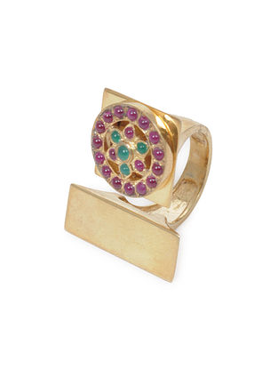 Pink-Green Gold Tone Silver Ring (Ring Size - 5)