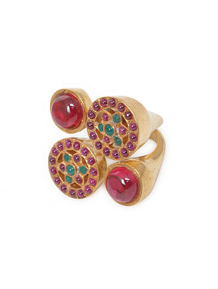 Pink-Green Gold Tone Silver Ring (Ring Size -6.5)