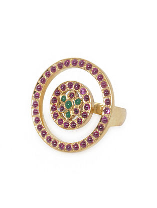 Pink-Green Gold Tone Silver Ring (Ring Size -6)