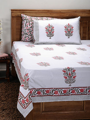 White-Multicolor Handblock Printed 200 Thread Count Cotton Bedsheet (Set of 3)