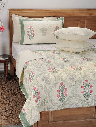 White Handblock Printed and Quilted Cotton Double Bedcover with Pillow Covers and Cushion Covers