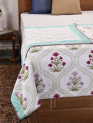 White-Multicolor Handblock Printed Cotton Flannel Single Dohar (91in x 56in)
