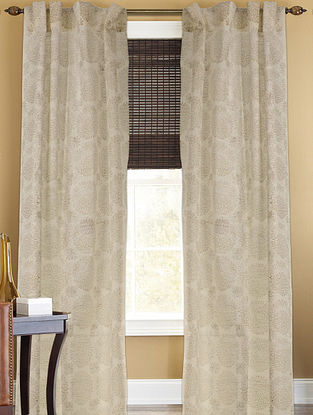 Ivory-Golden Floral Curtain - 105in x 44in