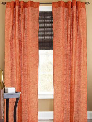 Orange-Golden Floral Curtain - 105in x 44in