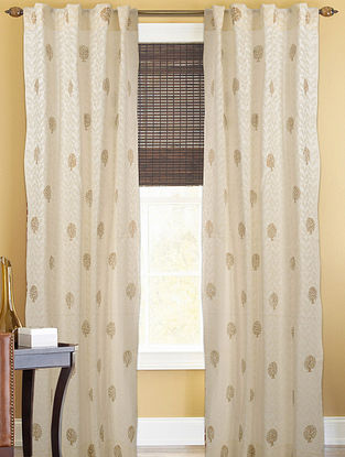 Ivory-Golden Tree Boota Curtain - 82in x 43in