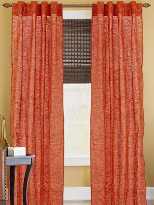 Orange-Golden Floral Curtain - 82in x 43in