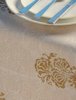 Ivory-Golden Floral Table Runner 45in x 13in