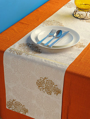 Ivory-Golden Floral Table Runner 72in x 13in