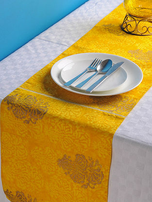 Yellow-Golden Floral Table Runner 72in x 13in