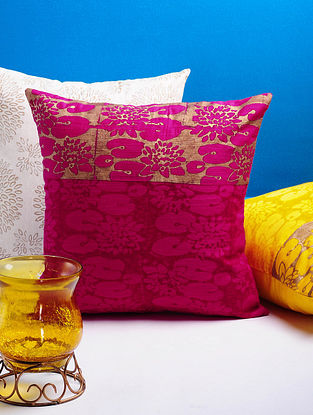 Magenta-Golden Lotus Cushion Cover 16in x 16in