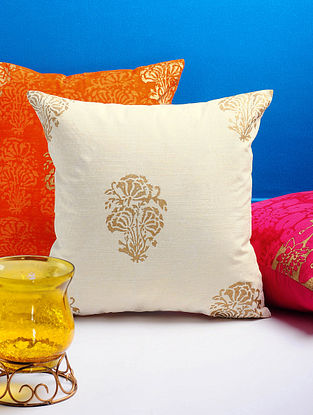 Ivory-Golden Floral Cushion Cover 16in x 15.5in