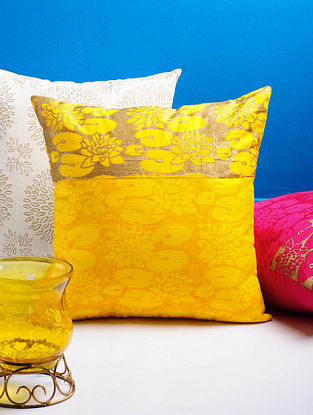 Yellow-Golden Lotus Cushion Cover 16in x 16in