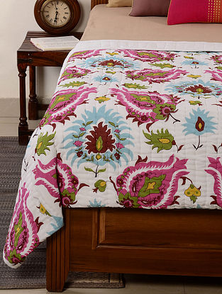 Floral White-Multicolor Quilt 102in x 93in
