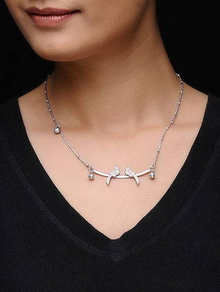 Classic Silver Necklace with Bird Motif